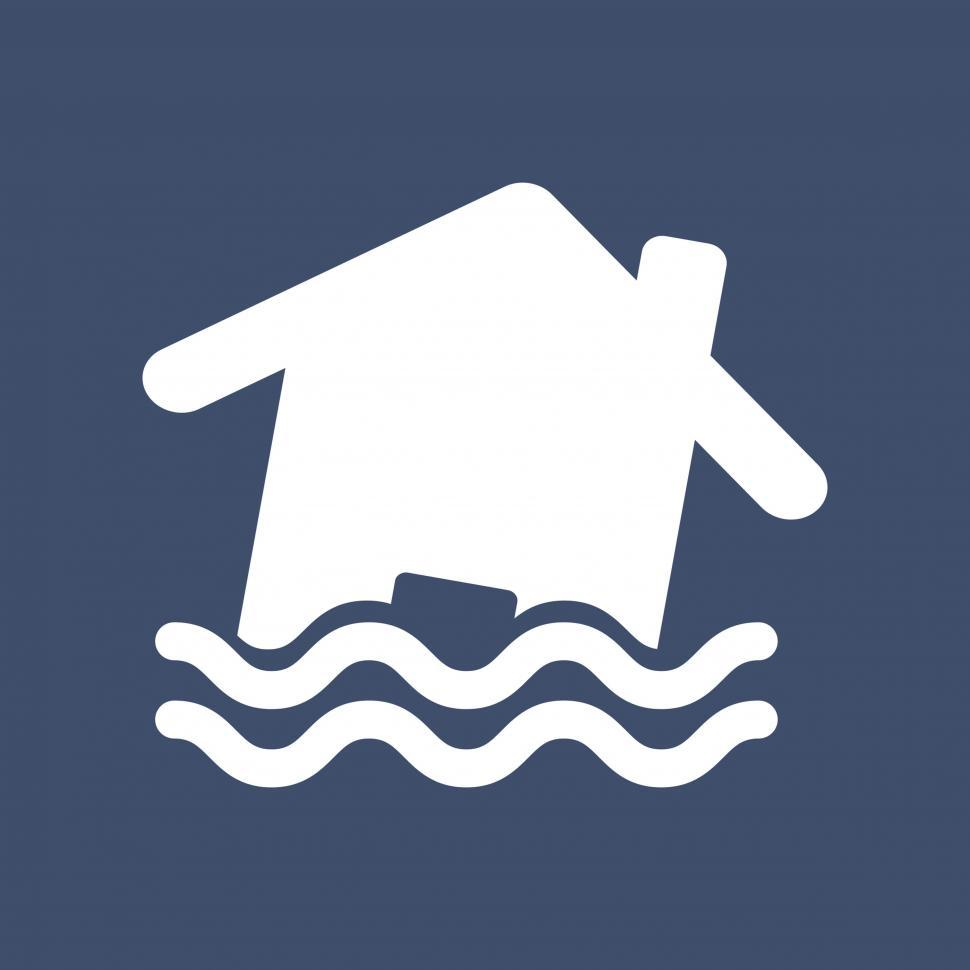 Download Free Stock Photo of Disaster, flood risk, home, storm, water vector icon