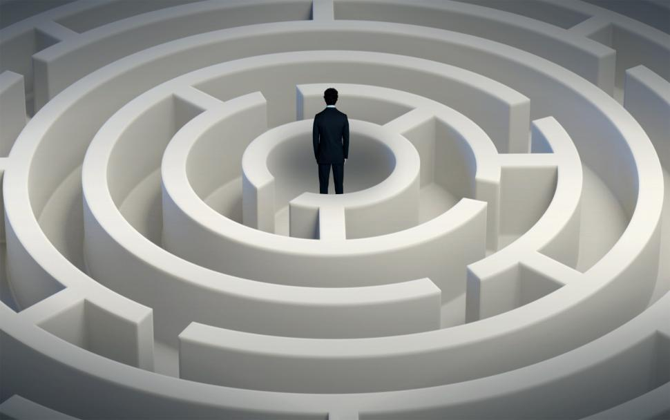 Download Free Stock Photo of Man Inside Maze - Thinking Through Options