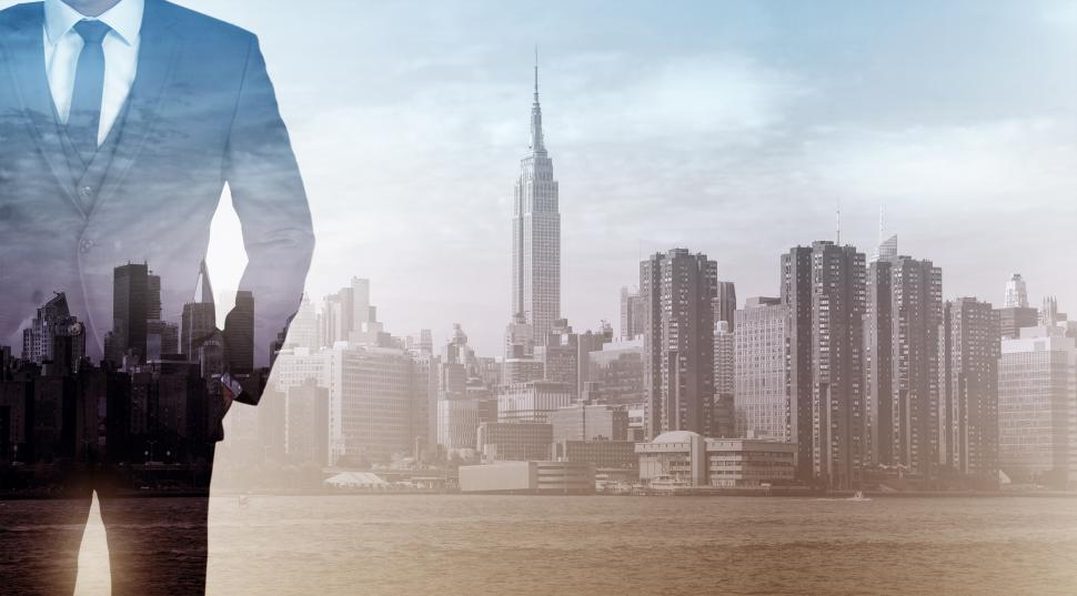Download Free Stock HD Photo of Double Exposure of Businessman Over City - Achievement and Succe Online