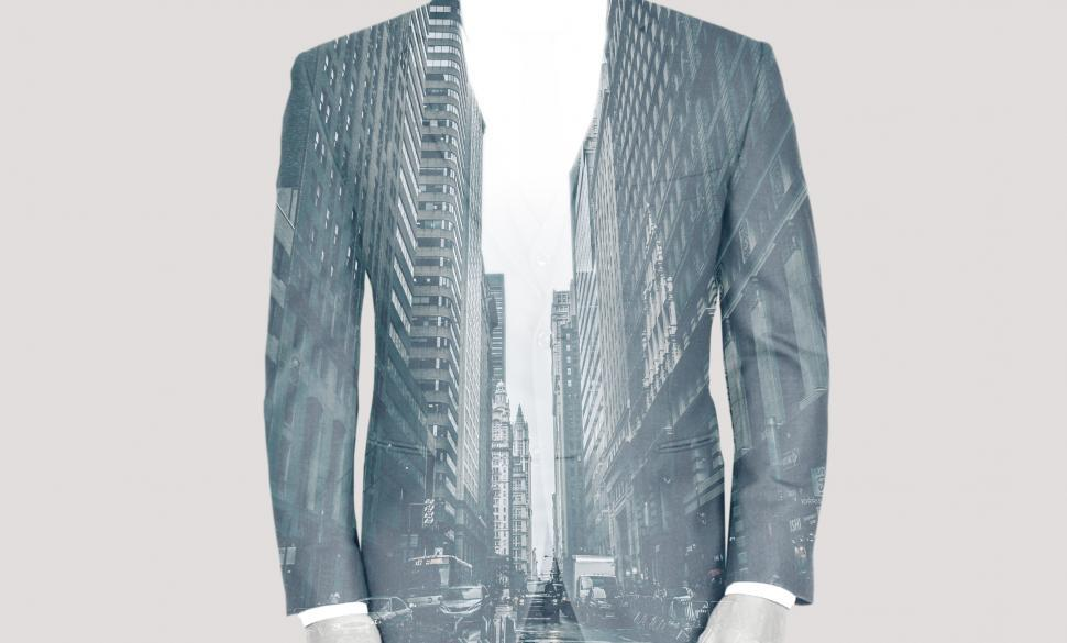 Download Free Stock Photo of Double Exposure of Businessman Over Cityscape - Success and Achi