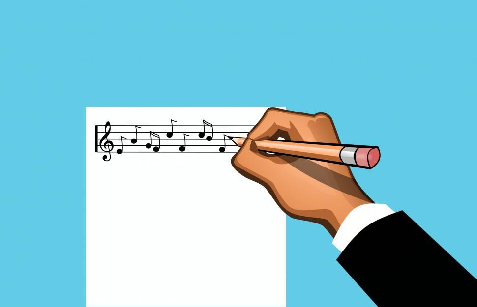 Download Free Stock Photo of Music notes writing