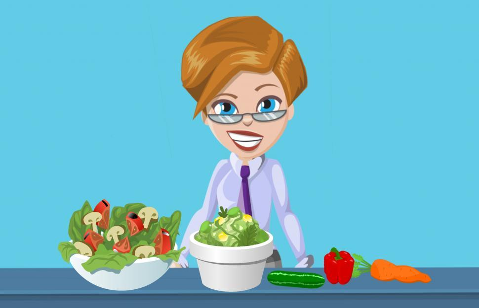 Download Free Stock HD Photo of Woman eating salad  Online