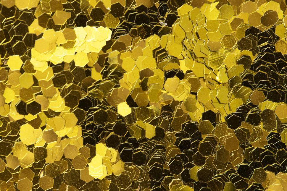 Download Free Stock HD Photo of Golden hexagon shaped glitter sparkles Online