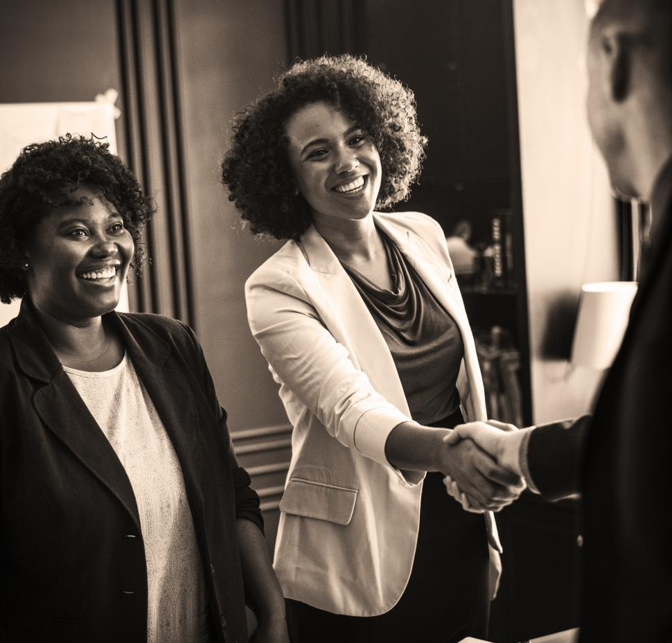 Download Free Stock Photo of Three colleagues - Black and white image