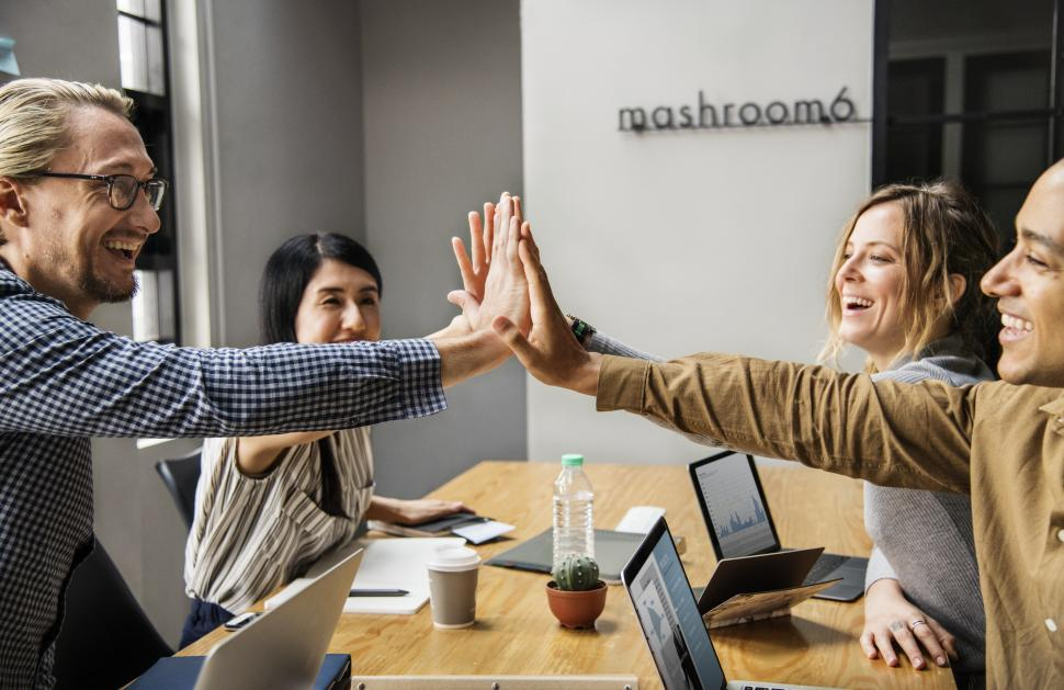 Download Free Stock Photo of Team high five - office success