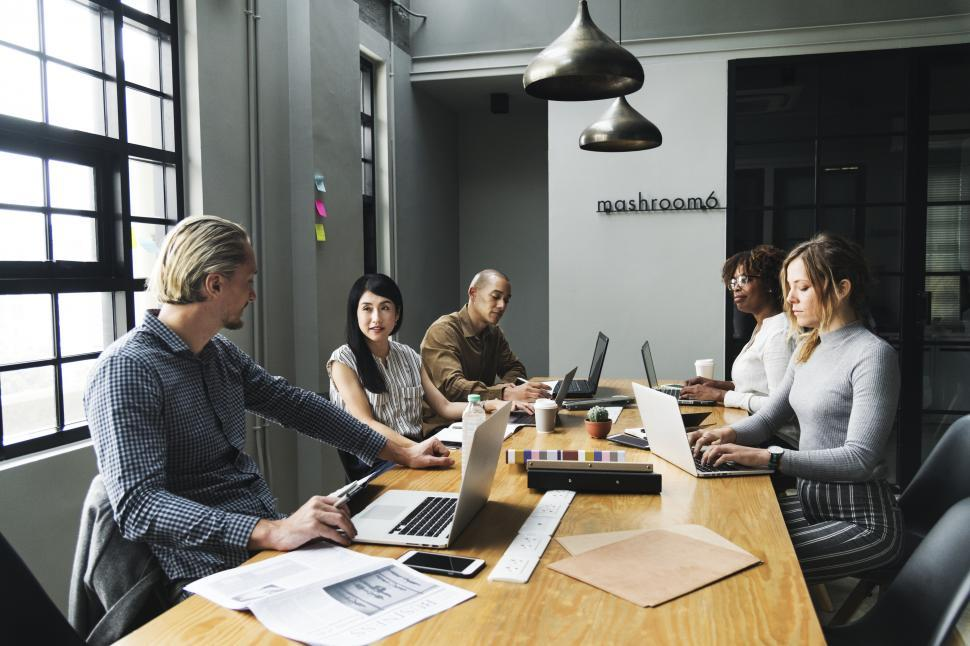 Download Free Stock HD Photo of Working group at a table Online