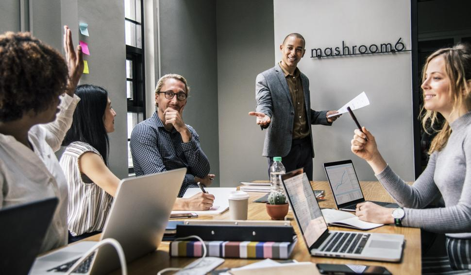 Download Free Stock Photo of Talking in a business meeting