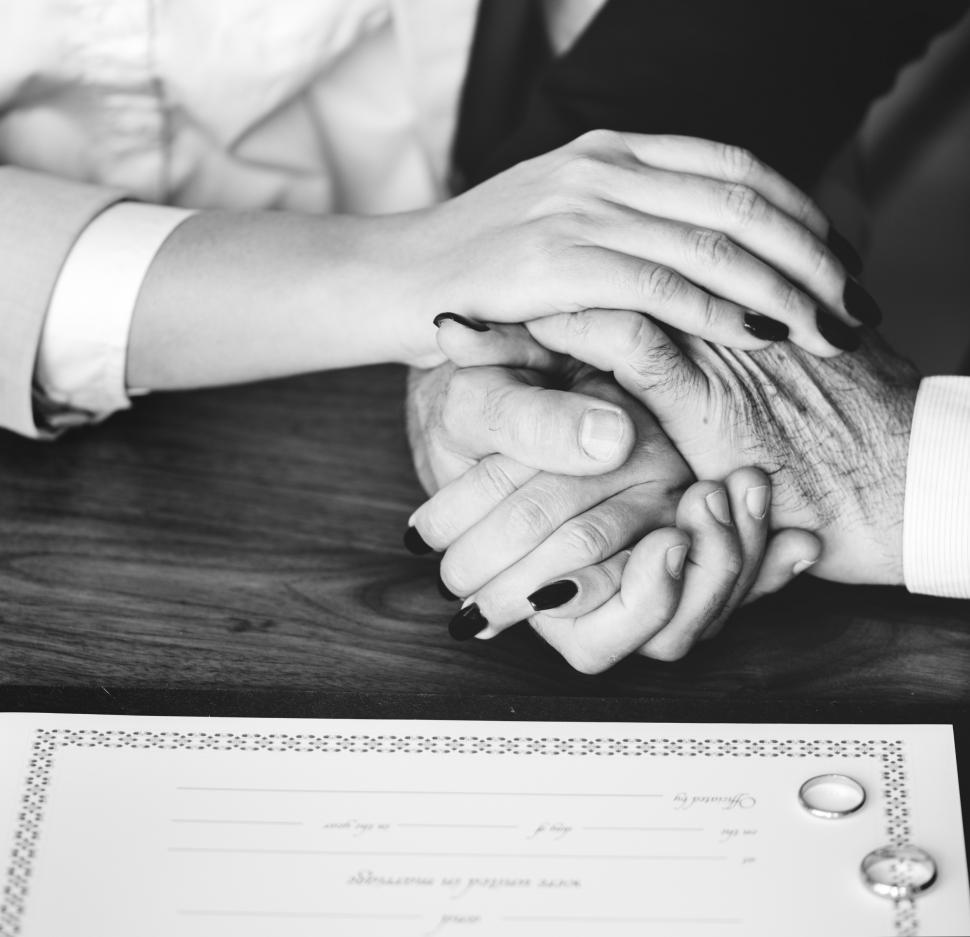 Download Free Stock Photo of Close up of a wedding couple s hands