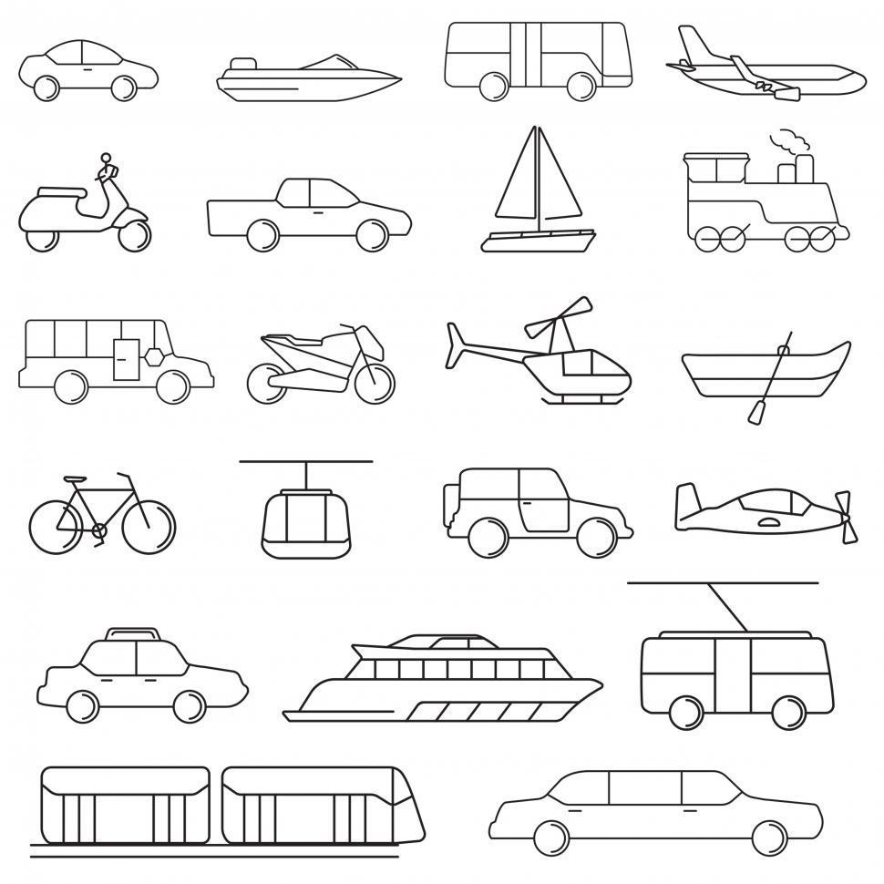Download Free Stock Photo of Various transportation medium icons