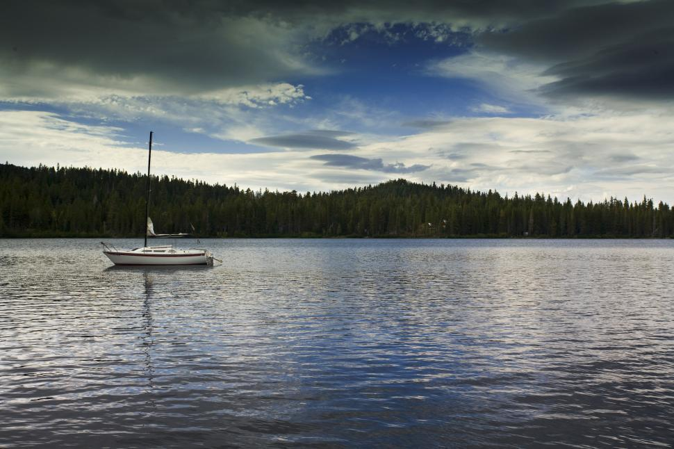 Download Free Stock HD Photo of peaceful lake with sailboat in California Online