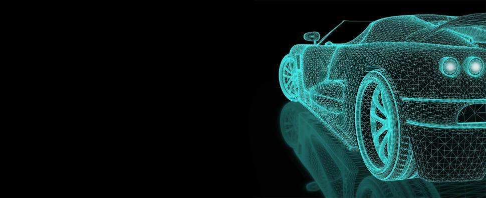 Download Free Stock Photo of Engineering Simulation - Car Mesh with Copyspace