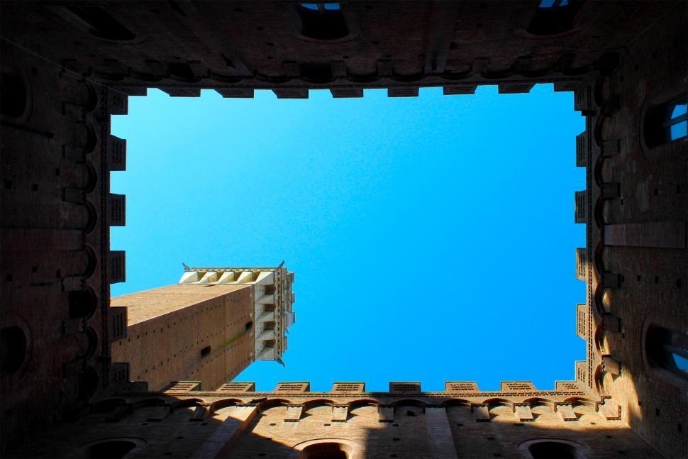 Download Free Stock HD Photo of Perspective of Torre del Mangia From Inside Palazzo Publico - Si Online