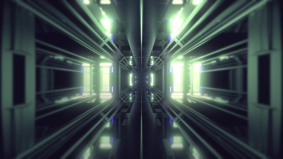 Download Free Stock Photo of futuristic science-fiction tunnel corridor 3d illustration background