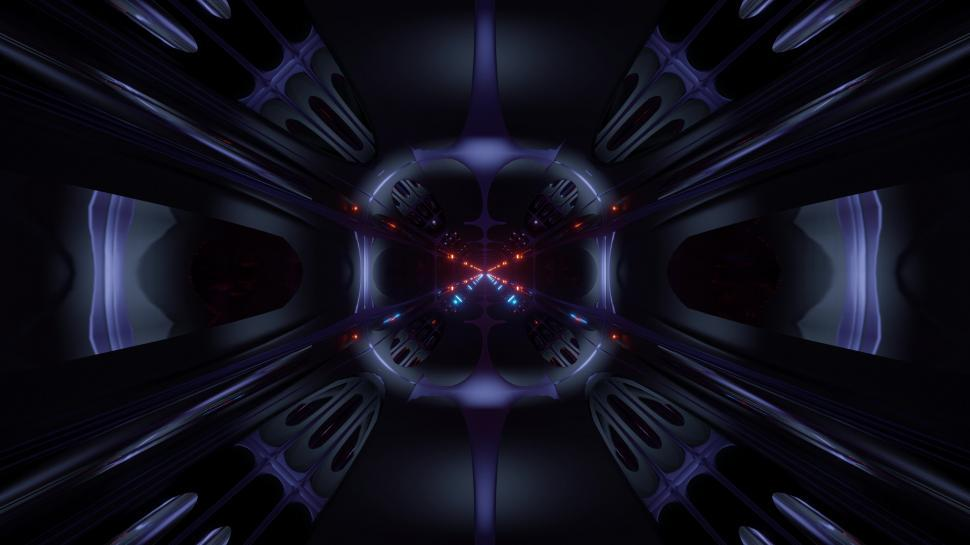 Download Free Stock Photo of futuristic science-fiction alien style tunnel corridor 3d illustration vj loop background
