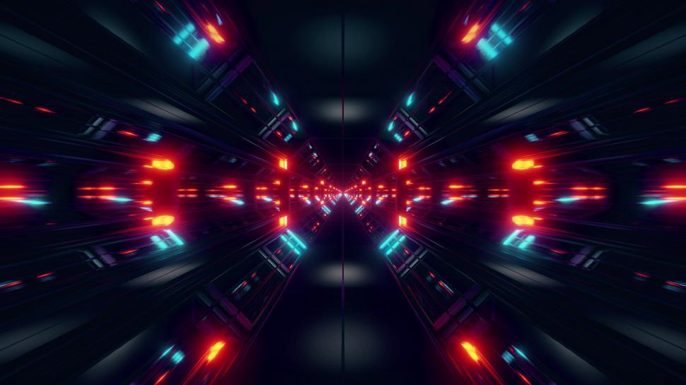 Download Free Stock Photo of black scifi space tunnel background wallpaper with nice glow 3d rendering