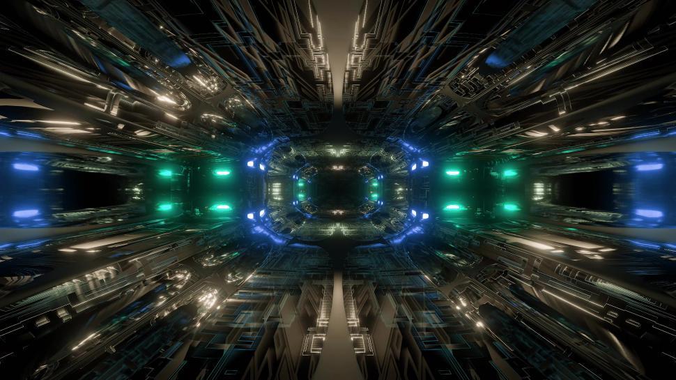 Download Free Stock Photo of futuristic science-fiction tunnel corridor 3d illustration background wallpaper