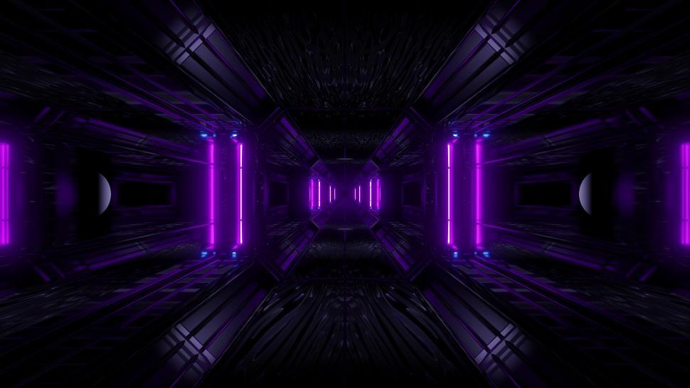 Download Free Stock Photo of dark space scifi tunnel background with abstract texture background 3d illustration