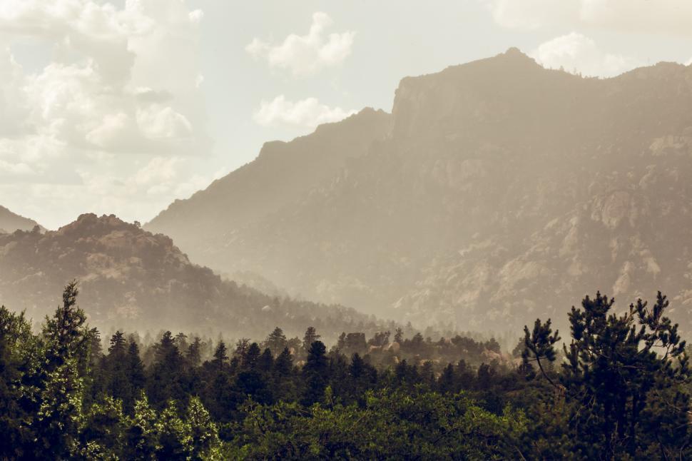 Download Free Stock Photo of Granite Mountain, Arizona, Rainy Mist