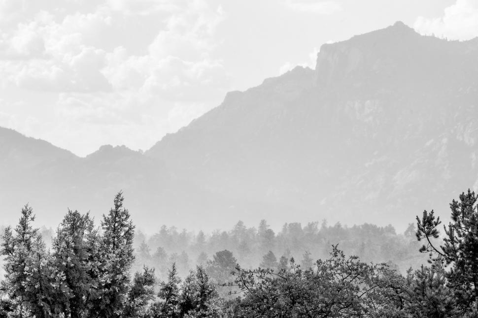 Download Free Stock HD Photo of Black and white valley and distant mountains Online