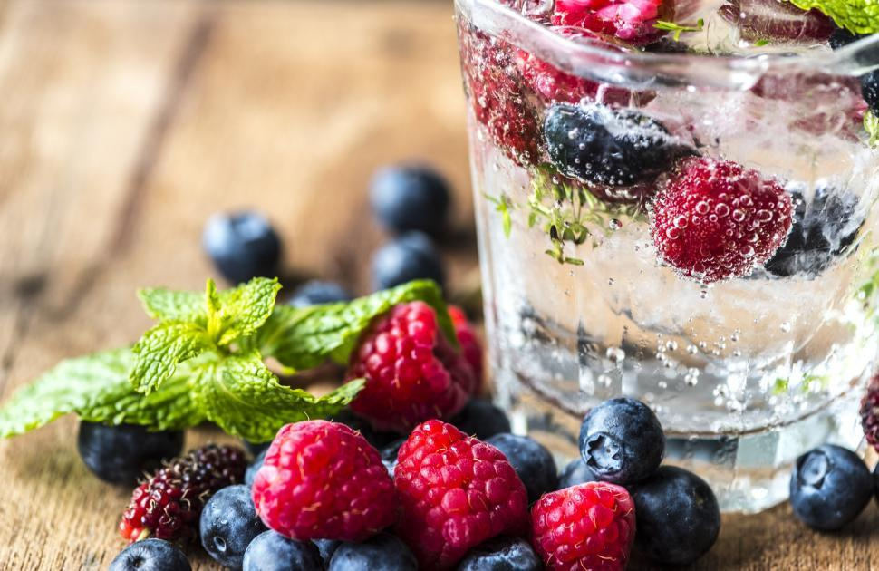 Download Free Stock Photo of Close up of chilled beverage with blueberry and raspberry