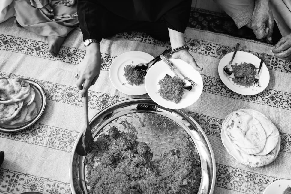 Download Free Stock HD Photo of Overhead view of Biryani being served Online