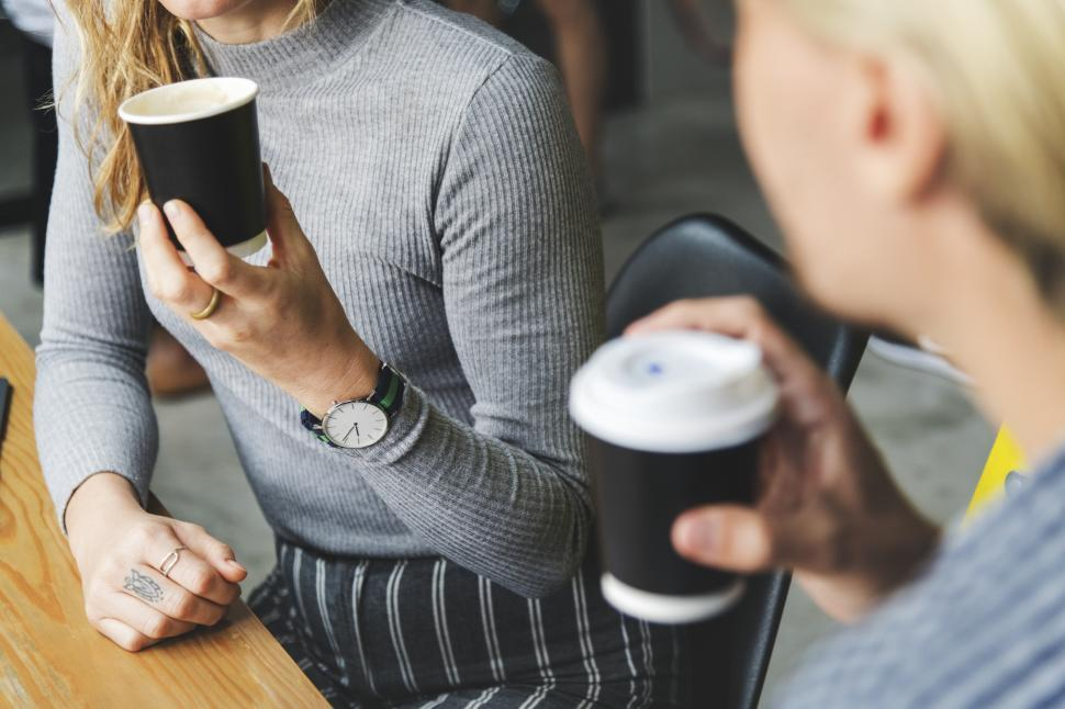 Download Free Stock Photo of Women with disposable coffee cups
