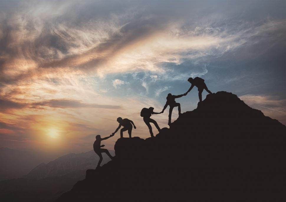 Download Free Stock Photo of Reaching the Summit - Teamwork - Effort - Success