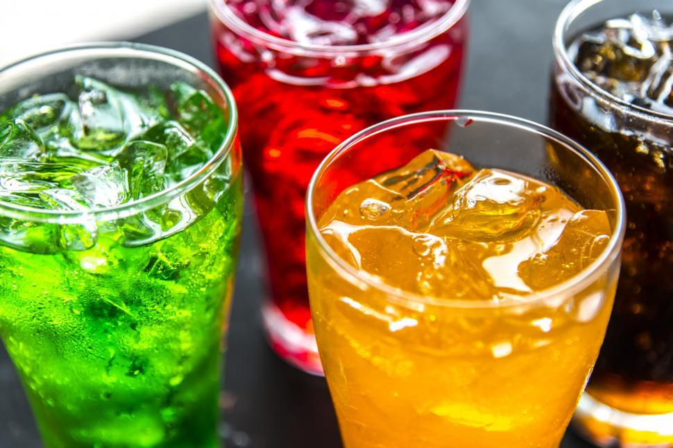 Download Free Stock Photo of Colorful soft drinks in pint glasses