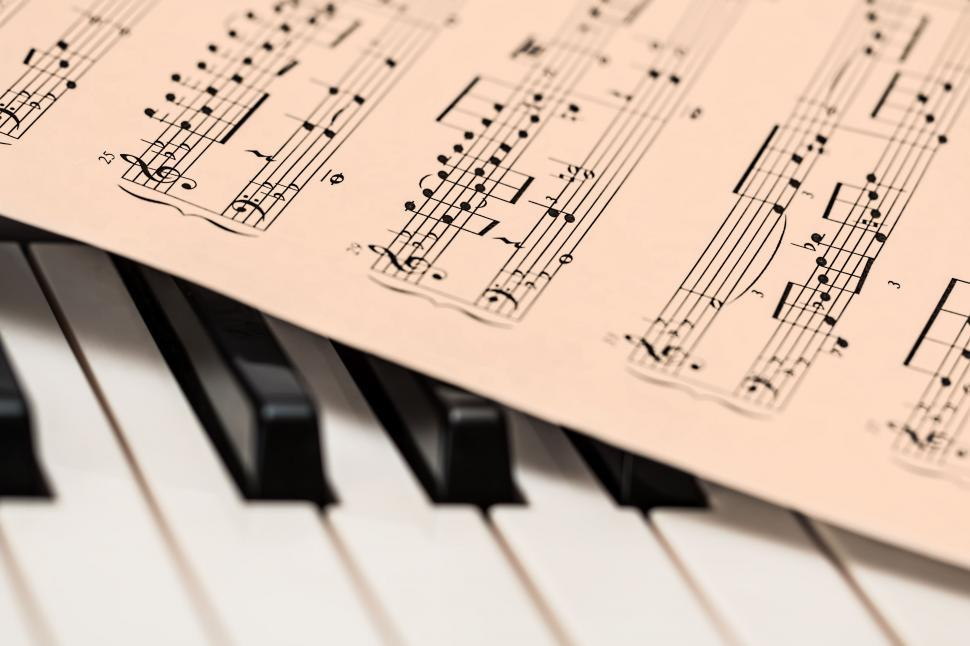 Download Free Stock Photo of piano music score music sheet keyboard piano keys music musical instrument classic note clef classical composer stave chord harmony instrumental lessons melody pianoforte pianist