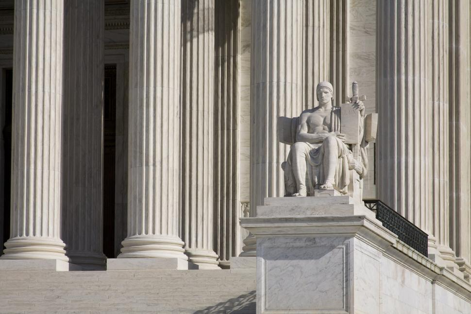 Download Free Stock Photo of Supreme Court Columns and Statue