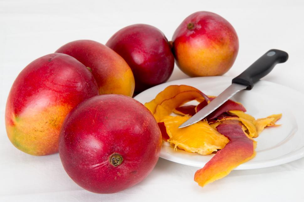 Download Free Stock Photo of mango tropical fruit juicy sweet vitamin c healthy fruit fruit salad ripe vegetarian nutrition raw tasty snack diet organic delicious red dieting summer vegan
