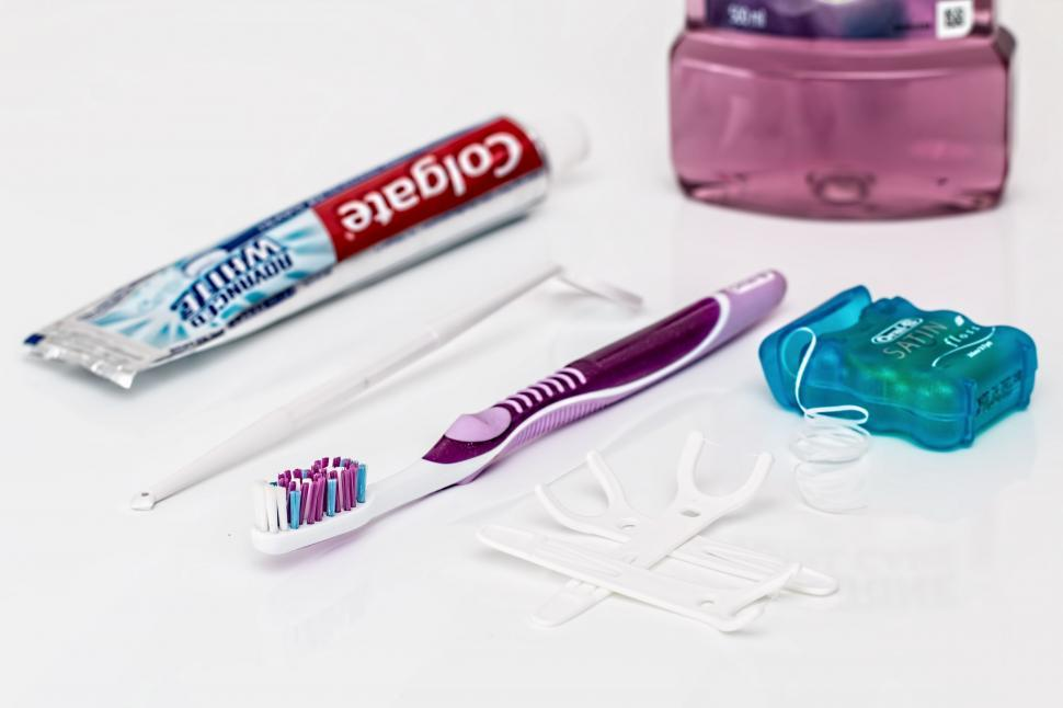 Download Free Stock Photo of dental toothpaste toothbrush dental floss mouthwash clean teeth dentistry healthcare brushing bathroom whitening hygiene oral hygiene dentist health mouth