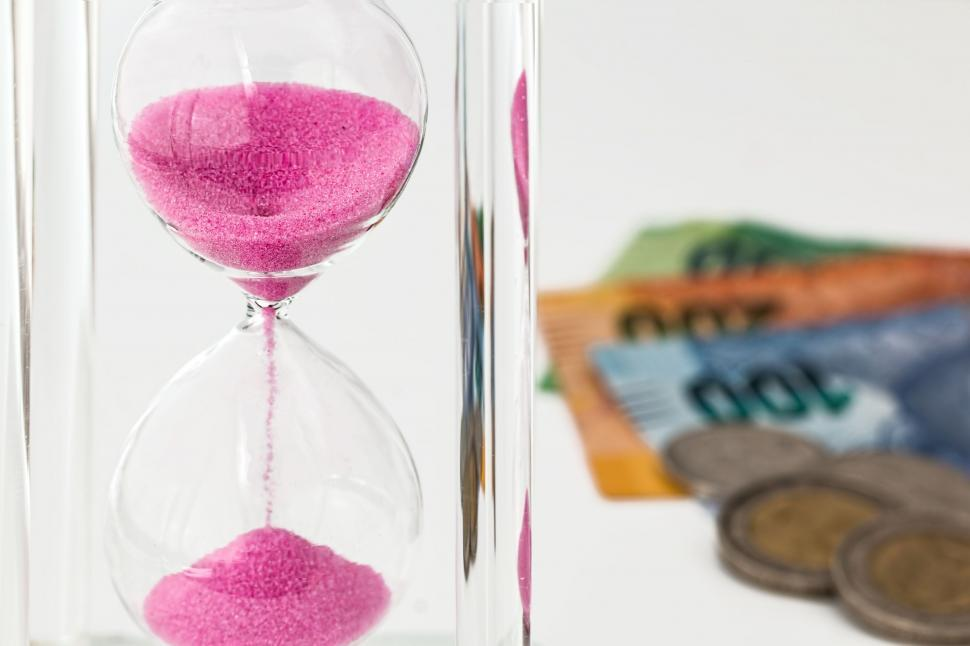Download Free Stock Photo of hourglass money time investment currency finance economic risk cash business economy wealth savings investing financing banking growth profit income return on investment revenue strategy patience patient wait time value of money time is money invest interest investor earnings deposit coin save asset planning time management