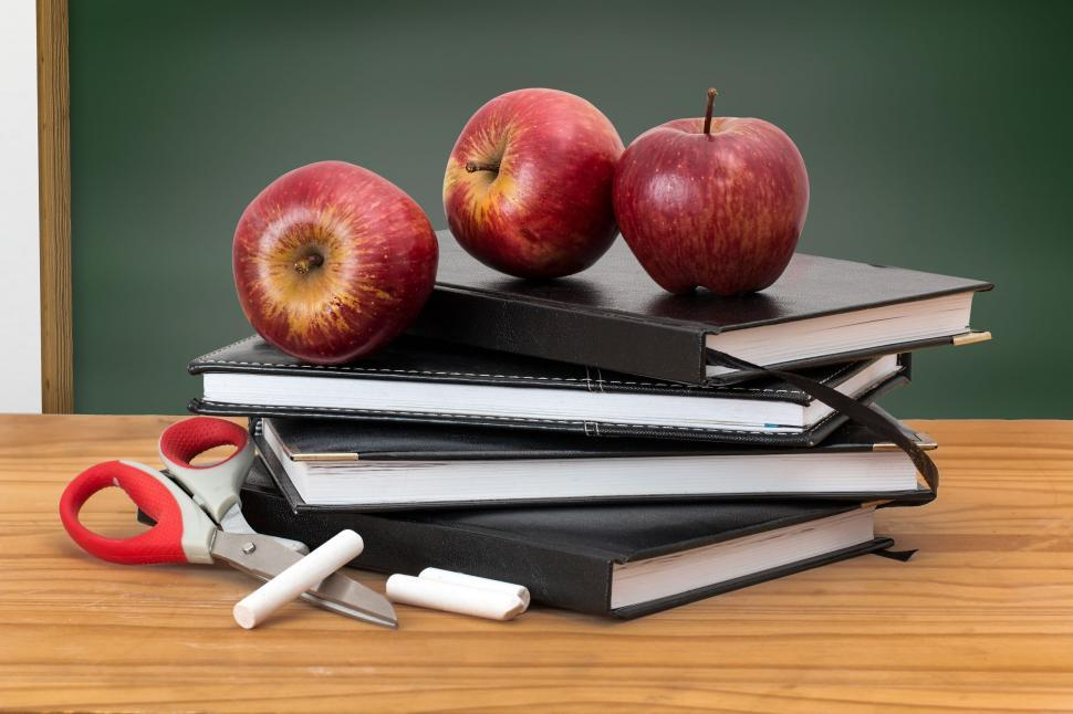 Download Free Stock Photo of school books apples blackboard green board education learn knowledge study textbook stack college studying student classroom apple class wisdom pile chalkboard pupil learning teacher's pet chalk lesson schoolchild teaching schoolboy