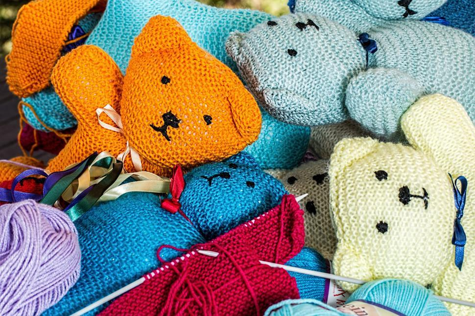 Download Free Stock Photo of Teddy bears - knitted