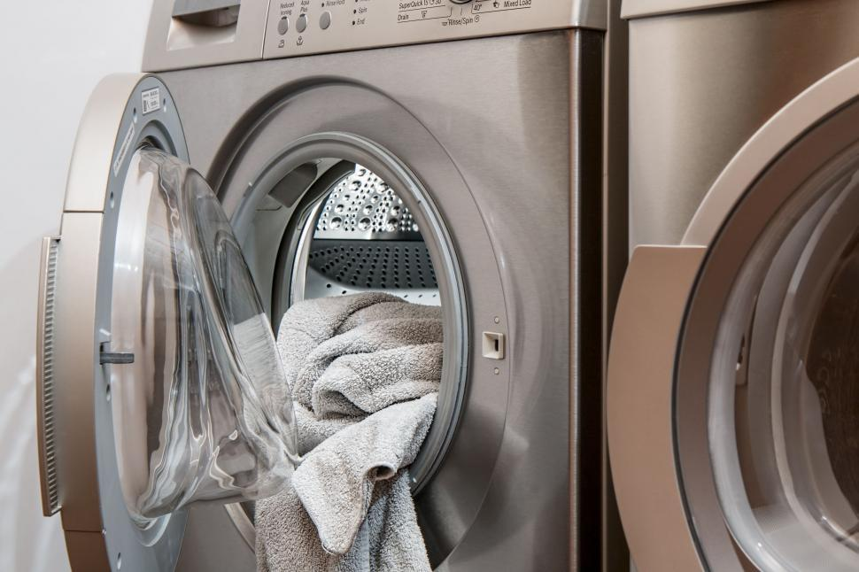 Download Free Stock Photo of washing machine laundry tumble drier housework appliance clean wash clothes chores dirty household dryer cleaning laundromat detergent domestic washing washday washer housekeeping