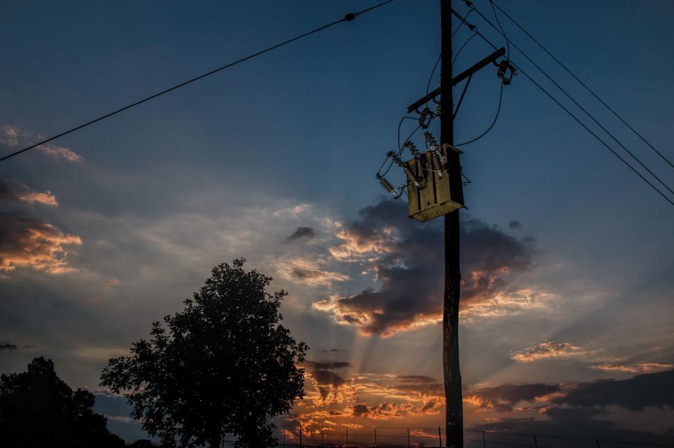 Download Free Stock Photo of power line electricity transformer sunset sundown landscape transformer electric electricity supply power pole cable sky powerlines