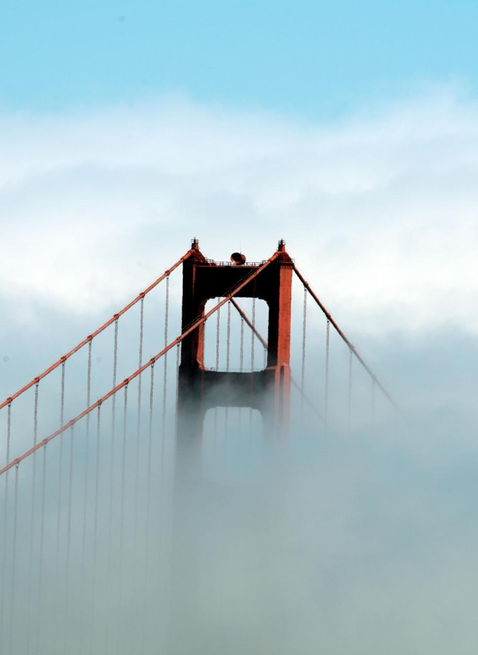 Download Free Stock Photo of Golden Gate Bridge In Clouds