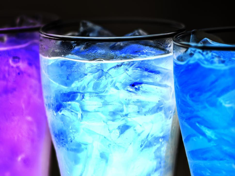 Download Free Stock HD Photo of Blue and purple soft drinks in pint glasses Online