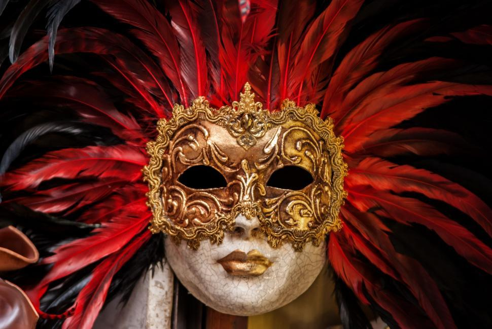 Download Free Stock Photo of Golden Carnival Mask