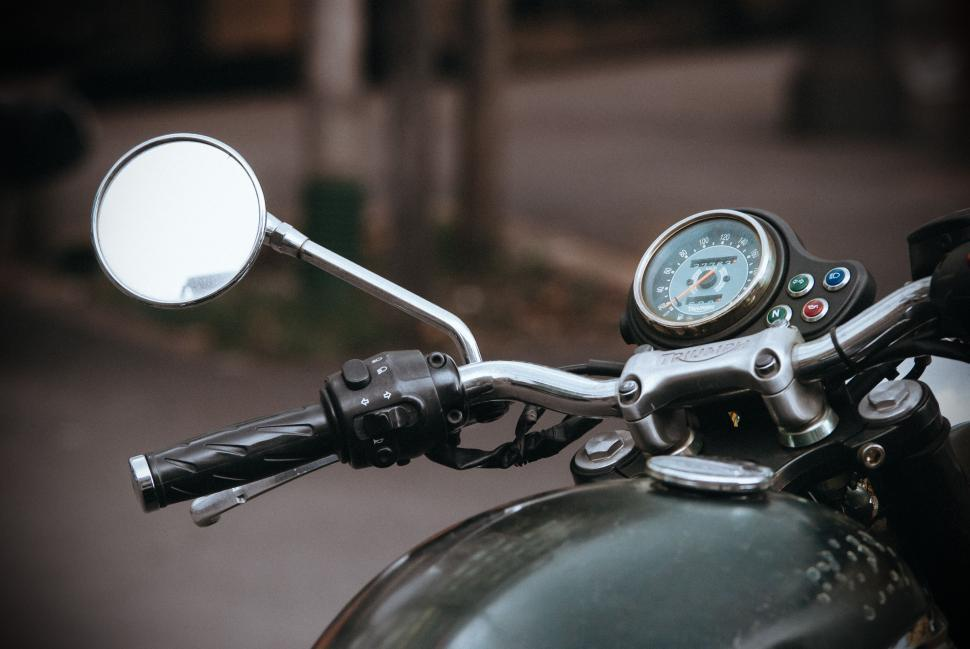 Download Free Stock Photo of Motorbike Handle With Mirror