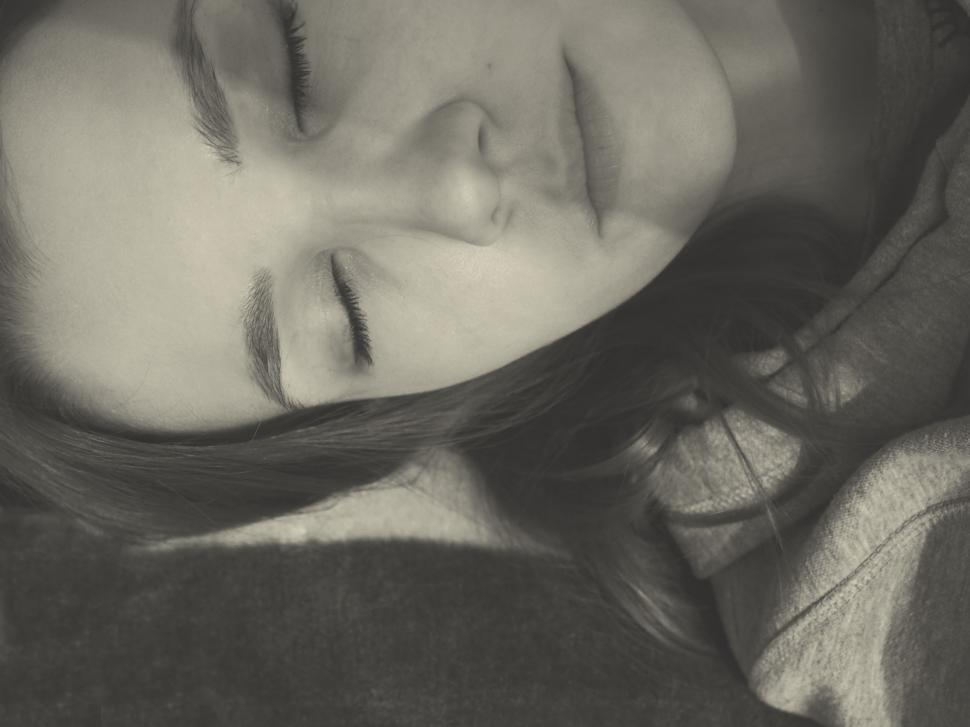 Download Free Stock HD Photo of Black and White - Girl Sleeping  Online