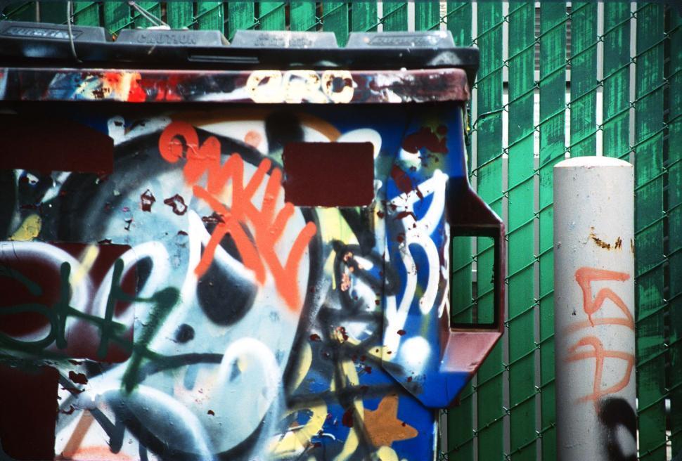 Download Free Stock HD Photo of Painted dumptser Online