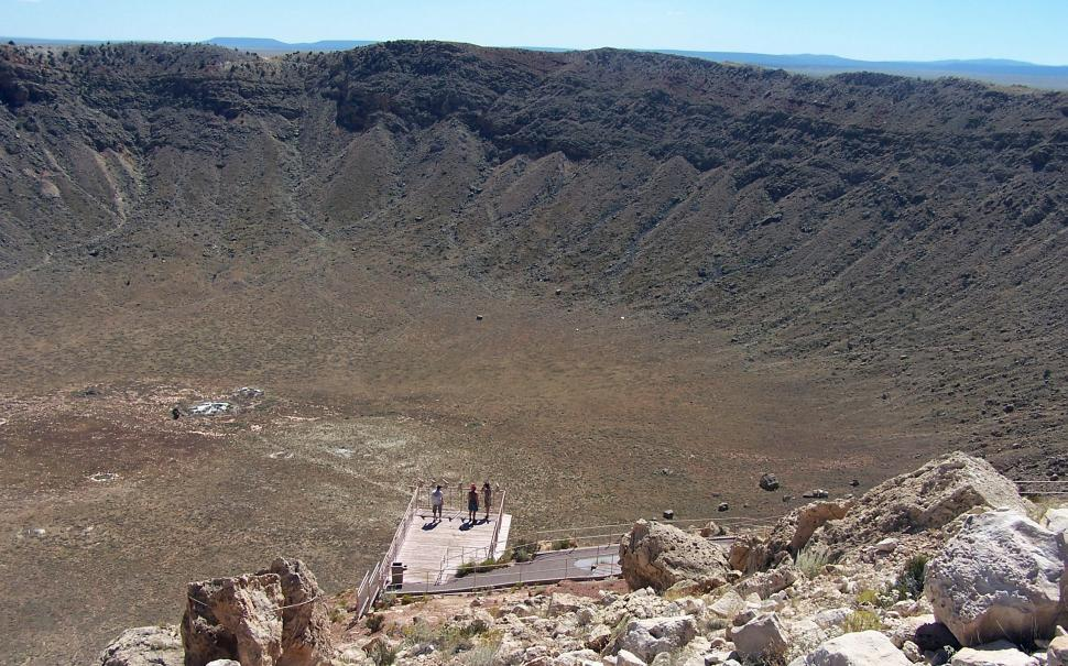 Download Free Stock Photo of Observing Meteor Crater