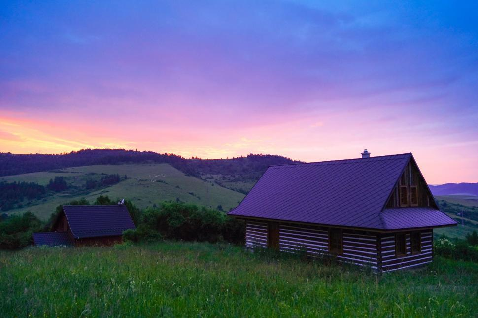 Download Free Stock Photo of Countryside Cottage - Colorful Sky