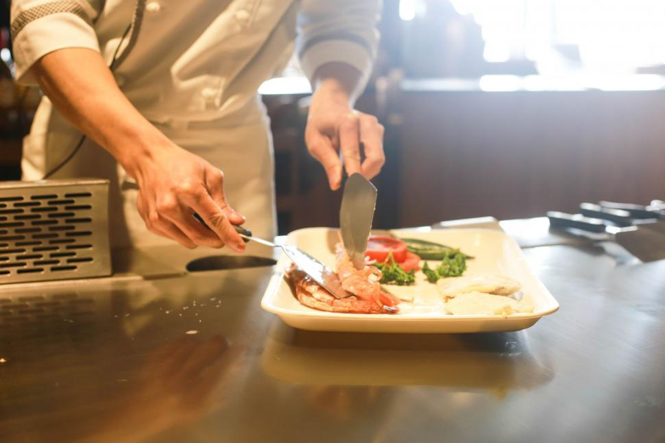 Download Free Stock HD Photo of Chef hands and Appetizer plate Online