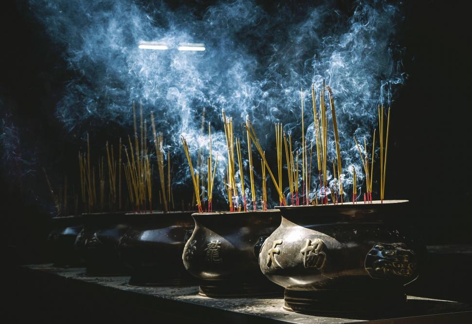 Download Free Stock Photo of Incense sticks in pots