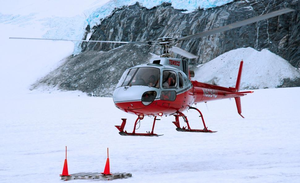 Download Free Stock Photo of Red Helicopter in Snow