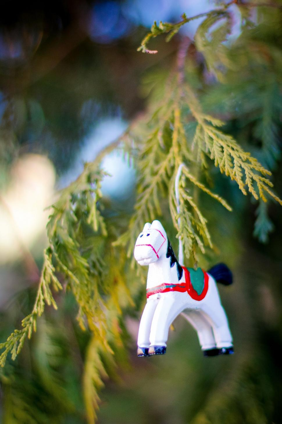 Download Free Stock HD Photo of Christmas Decorations: White Horse  Online
