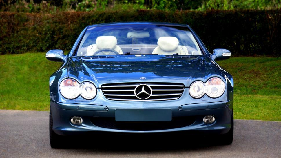 Download Free Stock HD Photo of Headlights and Bonnet of Mercedes-Benz Car  Online